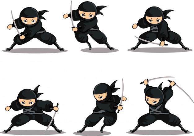 Cartoon zwarte ninja zet klaar aanval met zwaard