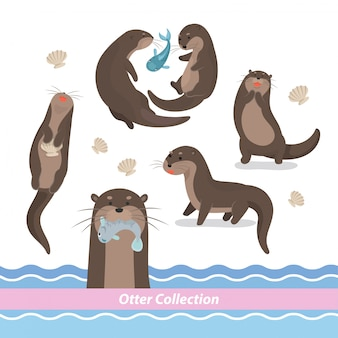 Cartoon zwemmende otter