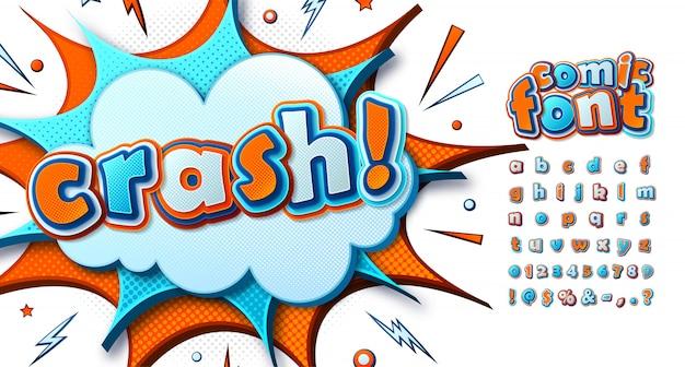 Cartoonachtig strips lettertype. grappig kleurrijk alfabet