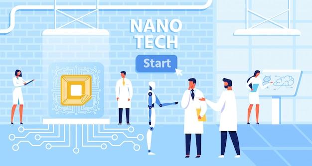 Cartoonbanner met startknop voor presentatie nano tech-laboratorium en effectief