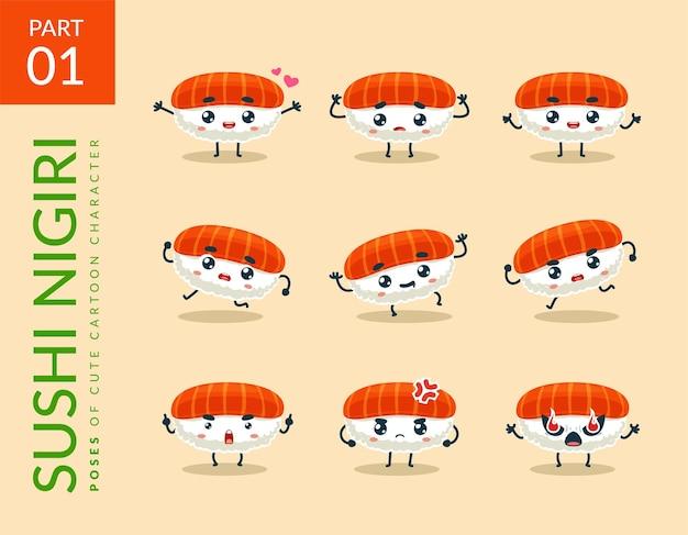 Cartoonbeelden van nigiri sushi. instellen.