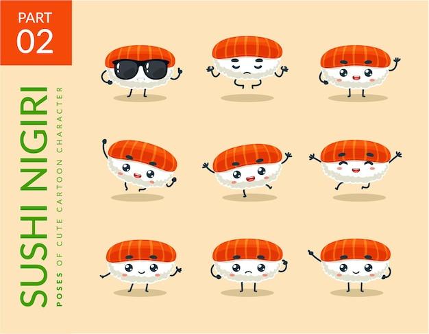 Cartoonbeelden van nigiri sushi. instellen. Gratis Vector