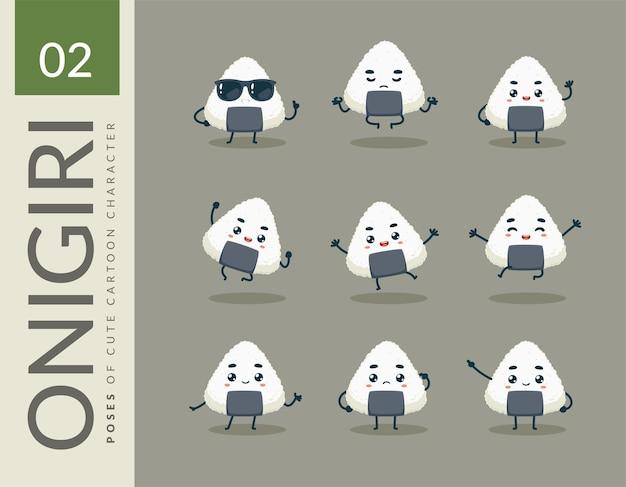 Cartoonbeelden van the onigiri. instellen.