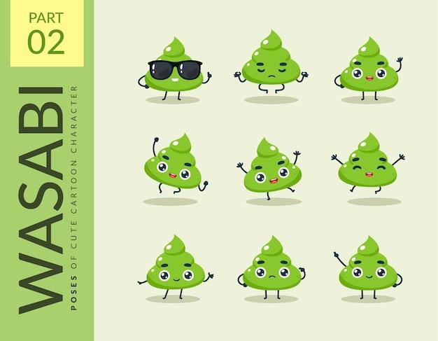 Cartoonbeelden van wasabi. instellen.