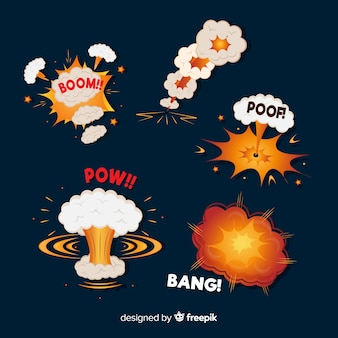 Cartoonbom en explosie-effect collectie