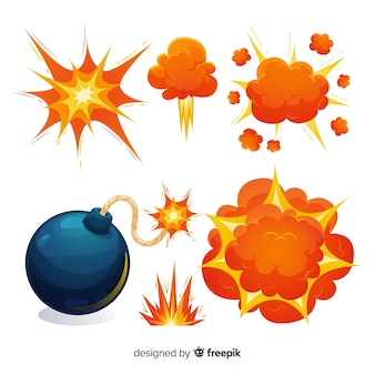 Cartoonbom en explosie-effect collectie