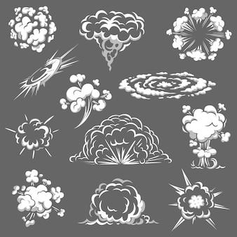 Cartoonbomexplosie, komische boomwolken, witte rook, aroma of giftige damp
