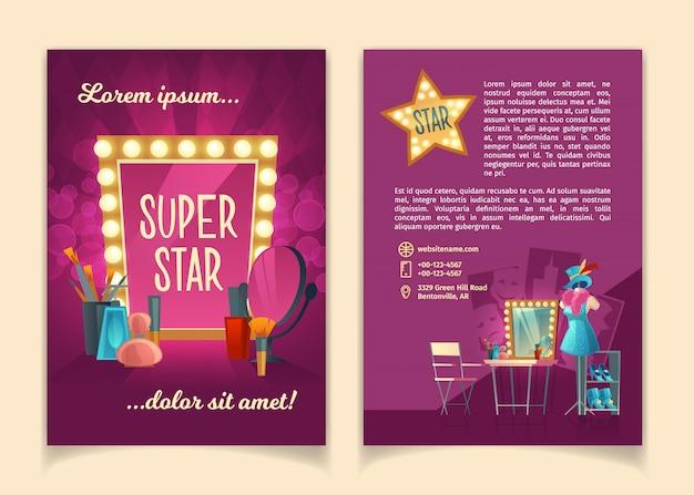 Cartoonbrochure voor reclametournee-rondleidingen van beroemde artiesten, theatergroepen