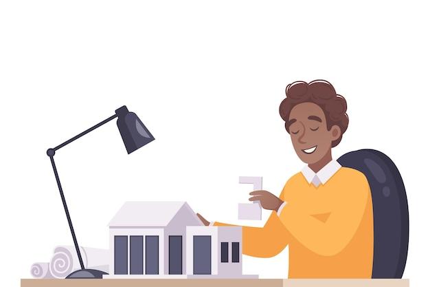Cartooncompositie met architect die huismodel maakt