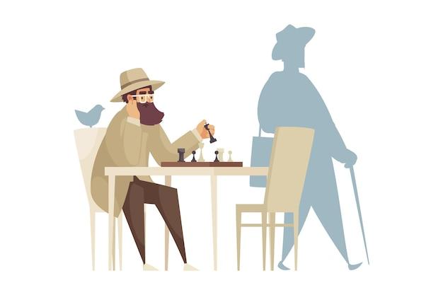 Cartooncompositie met eenzame man die alleen schaakt