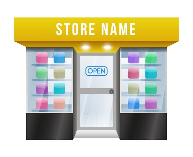 Cartooned gekleurde toepassingswinkel met bewerkbare winkelnaam op witte achtergrond.