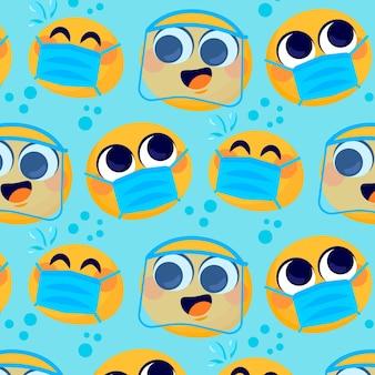 Cartoonemoji met gezichtsmaskerpatroon