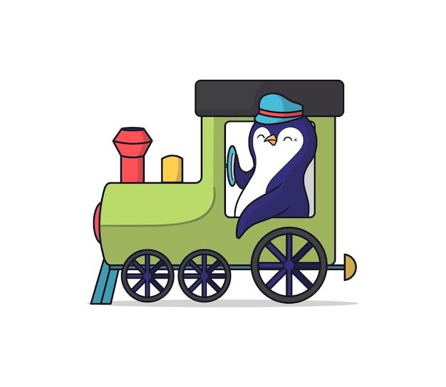 Cartooneske dierlijke pinguïn rijdt een trein.
