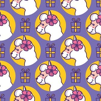 Cartooneske hoofdlama's met cadeautjes en bloemen.