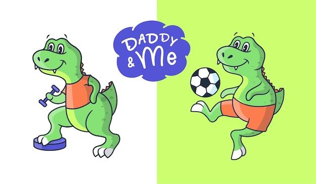 Cartooneske jongen dinosaurussen in de sport-stijl, stripfiguur.