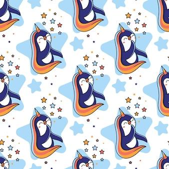 Cartooneske pinguïn-eenhoorn met regenboog en sterren.