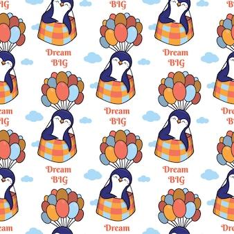 Cartooneske pinguïns met ballonnen en een belettering zin