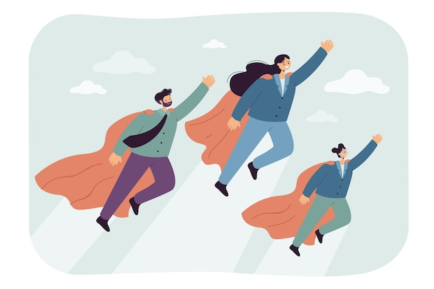 Cartoonfamilie van superhelden die omhoog vliegen