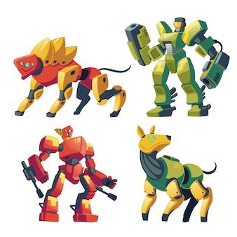 Cartoongevechtsrobots en mechanische honden. vecht tegen androïden met kunstmatige intelligentie