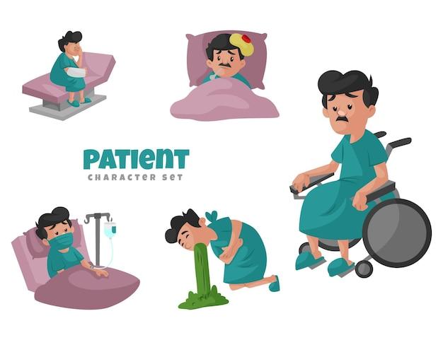 Cartoonillustratie van de geduldige tekenset