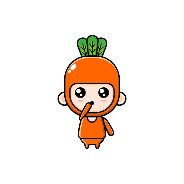 Cartoonillustratie van een chibijongen die een wortelkostuum draagt