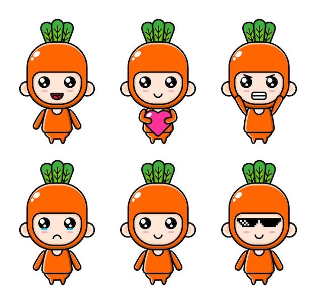 Cartoonillustratie van een chibijongen die een wortelkostuumset draagt