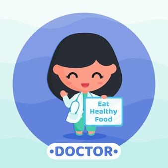 Cartoonillustratie van een schattige dokter die een campagne voor gezond eten doet met een wit bord