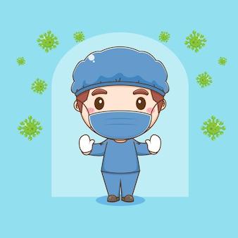 Cartoonillustratie van schattig dokterskarakter beschermt tegen virussen
