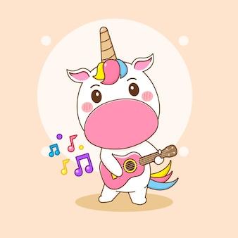 Cartoonillustratie van schattig eenhoornkarakter dat gitaar speelt