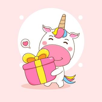 Cartoonillustratie van schattig eenhoornkarakter met geschenkdoos