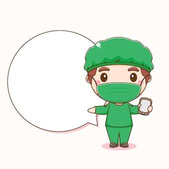 Cartoonillustratie van schattige dokter die telefoon vasthoudt met tekstballon
