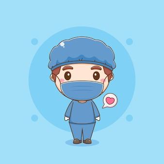 Cartoonillustratie van schattige dokter draagt beschermende pakken