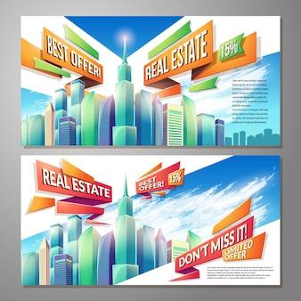 Cartoonillustraties, banners, stedelijke achtergronden met stadslandschap