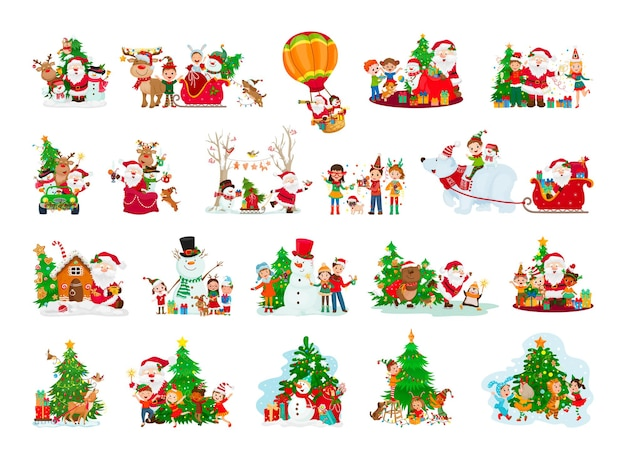 Cartoonillustraties van kerstmis en nieuwjaar met karakters