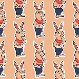 Cartoonish hipster-bunny is een kunstenaar met palet.