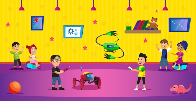 Cartoonjongens houden afstandsbediening van robotspeelgoed