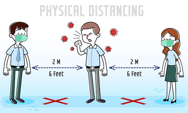 Cartoonmedewerker met covid-19 coronavirus-symptomen hoesten rond kantoorpartners