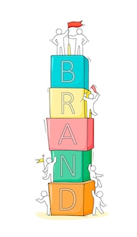 Cartoonmensen bouwen woordmerk uit blokken