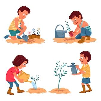 Cartoonmensen die voor planten zorgen