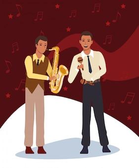 Cartoonmuzikant met maracas en saxofonist, jazzmuziekband