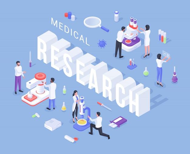 Cartoononderzoekers die medische experimenten uitvoeren om een nieuw vaccin te vinden