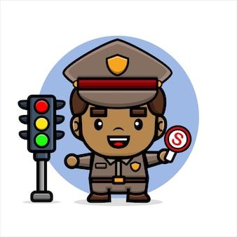 Cartoonpolitie stopt mensen met een verbiedbord en verkeerslicht