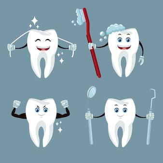 Cartoons en pictogrammen voor tandverzorging