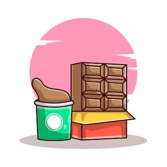 Cartoons met chocolade en chocoladedrank