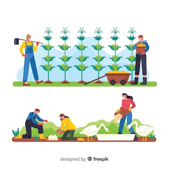 Cartoons op boerderij werkende landbouw