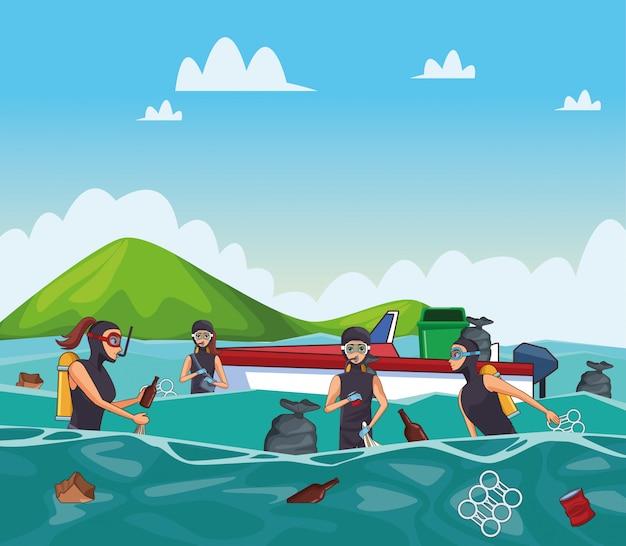 Cartoons voor het schoonmaken van zee