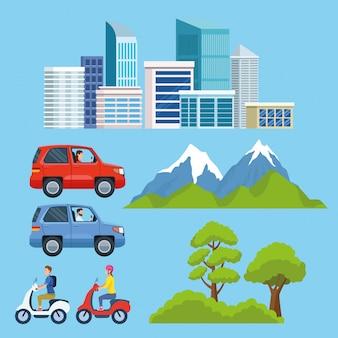 Cartoons voor stads- en stadsvervoer