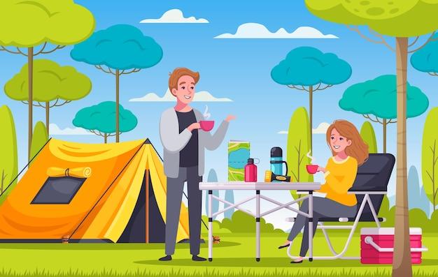 Cartoonsamenstelling met man en vrouw die picknicken naast tent op kampeerplaats camping