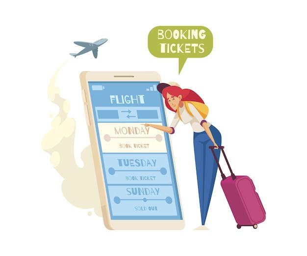 Cartoonsamenstelling met vrouw die vliegtickets boekt op smartphoneillustratie