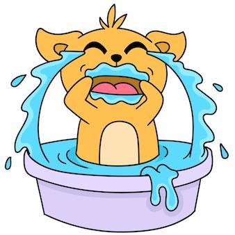 Cartoonstickers van een kat zijn erg verdrietig om te huilen om het bad te vullen, schattige doodle-tekening. vector illustratie
